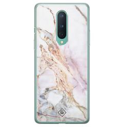 Casimoda OnePlus 8 siliconen hoesje - Parelmoer marmer