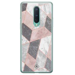 Casimoda OnePlus 8 siliconen hoesje - Stone grid