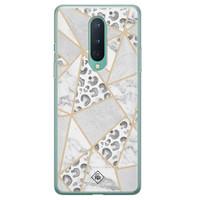Casimoda OnePlus 8 siliconen telefoonhoesje - Stone & leopard print