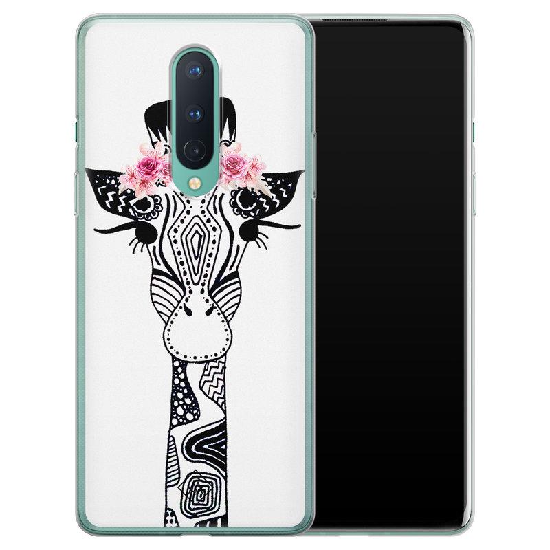 Casimoda OnePlus 8 siliconen telefoonhoesje - Giraffe