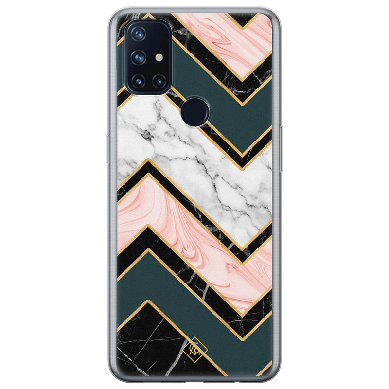 Casimoda OnePlus Nord N10 5G siliconen hoesje - Marmer triangles