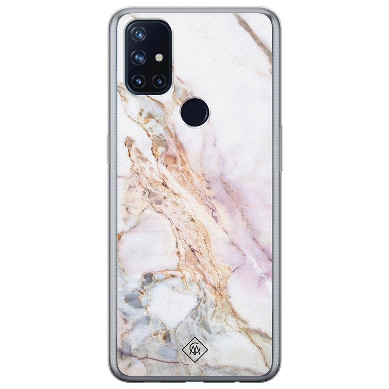 Casimoda OnePlus Nord N10 5G siliconen telefoonhoesje - Parelmoer marmer