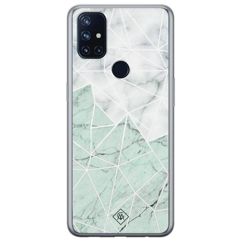 Casimoda OnePlus Nord N10 5G siliconen telefoonhoesje - Marmer mint mix