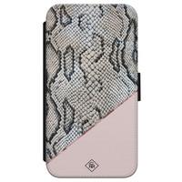 Casimoda iPhone X/XS flipcase - Snake print roze