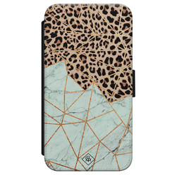 Casimoda iPhone X/XS flipcase - Luipaard marmer mint