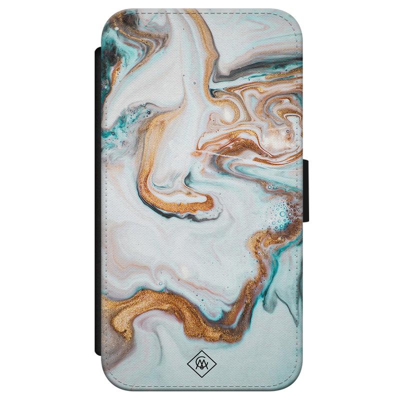 Casimoda iPhone X/XS flipcase - Marmer blauw goud