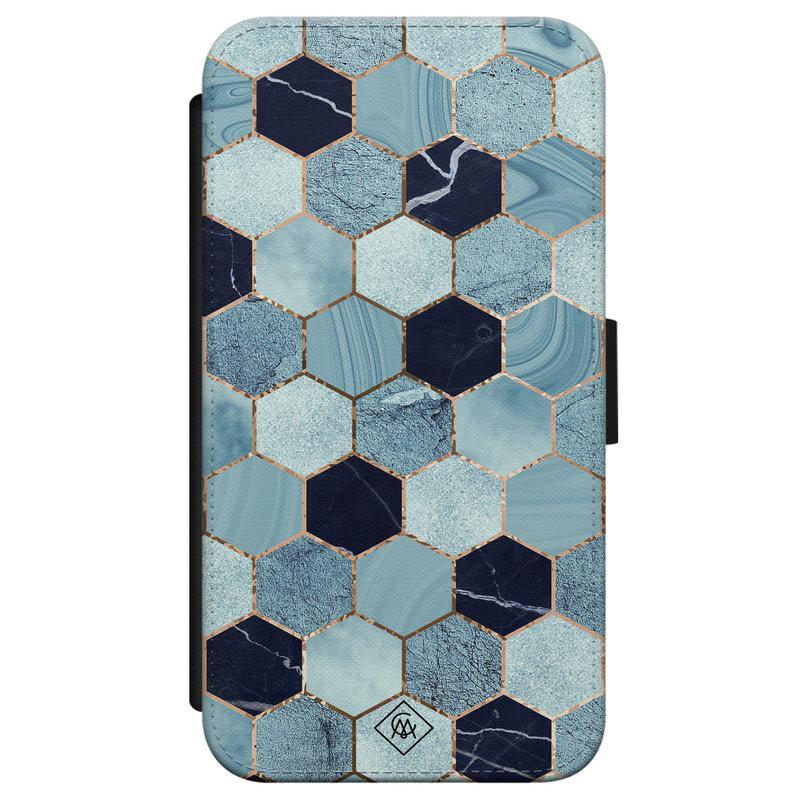 Casimoda iPhone X/XS flipcase - Marmer blauw kubussen