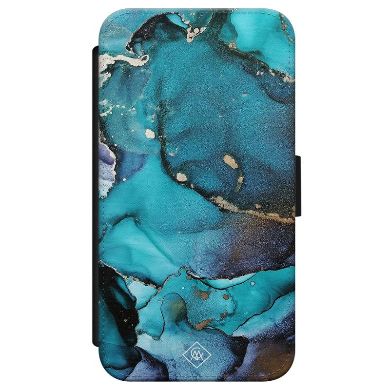 Casimoda iPhone X/XS flipcase - Marmer indigo blauw