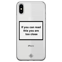 Casimoda iPhone X/XS transparant hoesje - Too close