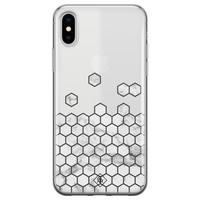 Casimoda iPhone X/XS transparant hoesje - Marmer grijs abstract
