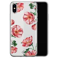 Casimoda iPhone X/XS transparant hoesje - Red flowers