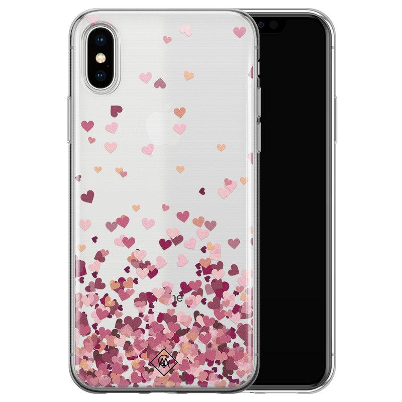 Casimoda iPhone X/XS transparant hoesje - Falling hearts