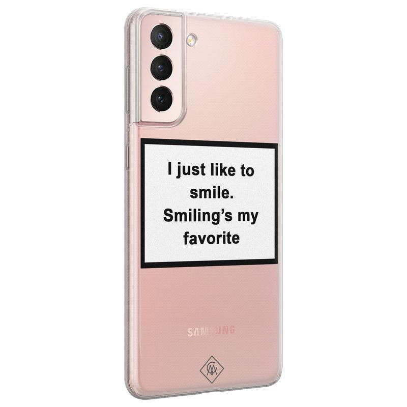 Casimoda Samsung Galaxy S21 transparant hoesje - Always smiling