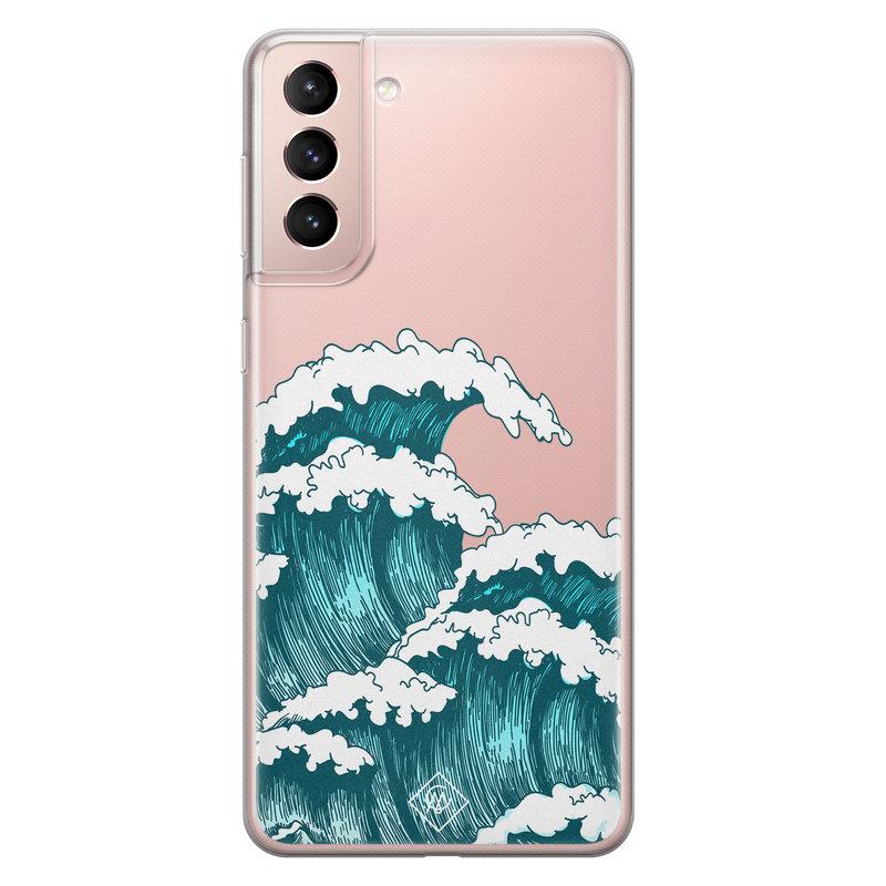 Casimoda Samsung Galaxy S21 transparant hoesje - Wave