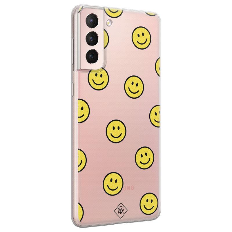 Casimoda Samsung Galaxy S21 transparant hoesje - Smileys