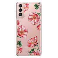 Casimoda Samsung Galaxy S21 transparant hoesje - Red flowers