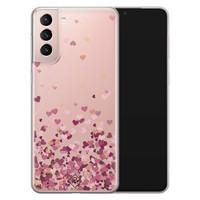 Casimoda Samsung Galaxy S21 transparant hoesje - Falling hearts