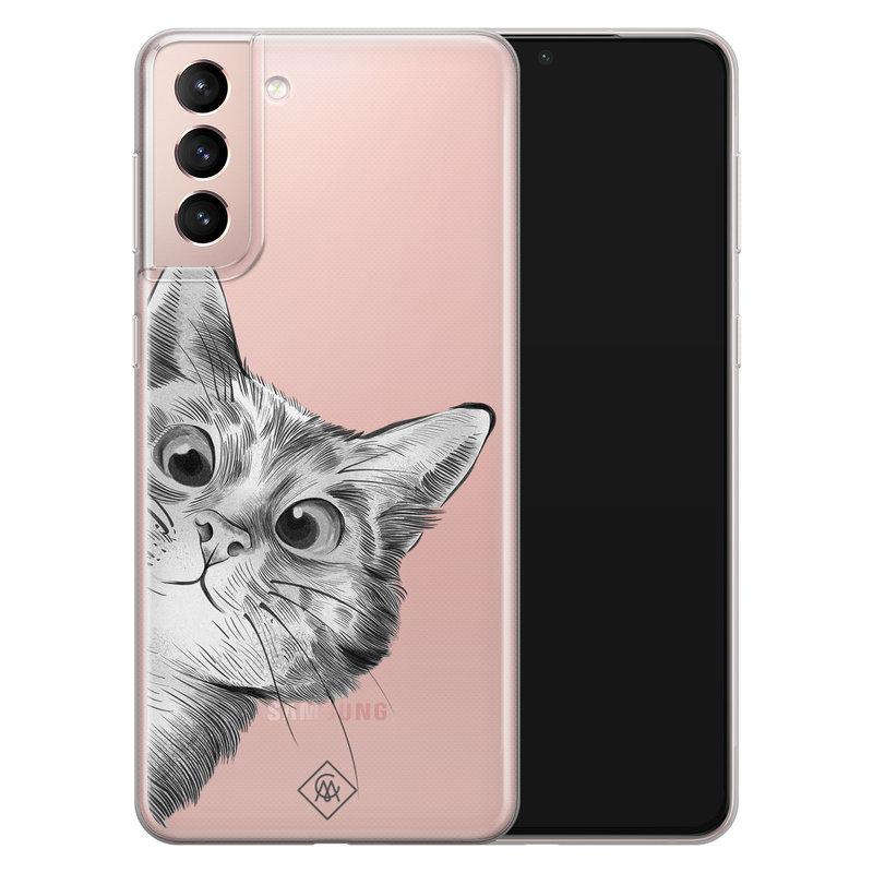 Casimoda Samsung Galaxy S21 transparant hoesje - Peekaboo