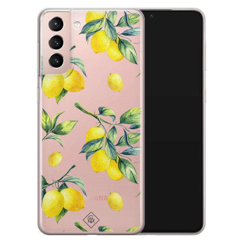 Casimoda Samsung Galaxy S21 transparant hoesje - Lemons