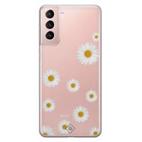 Casimoda Samsung Galaxy S21 transparant hoesje - Daisies