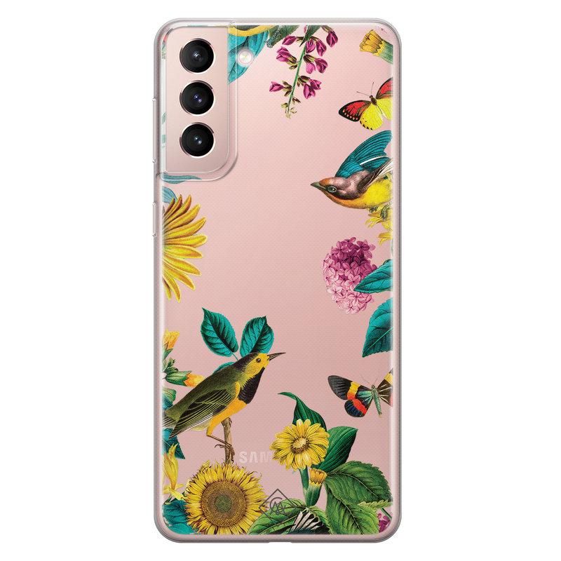 Casimoda Samsung Galaxy S21 transparant hoesje - Sunflowers