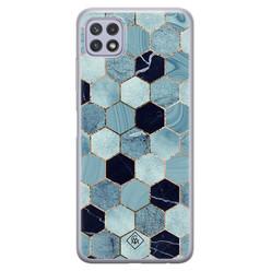 Casimoda Samsung Galaxy A22 5G siliconen hoesje - Blue cubes