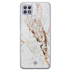 Casimoda Samsung Galaxy A22 5G siliconen hoesje - Marmer goud