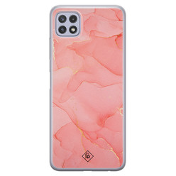 Casimoda Samsung Galaxy A22 5G siliconen hoesje - Marmer roze