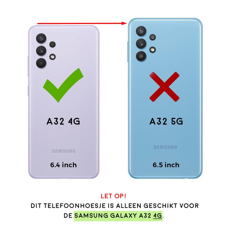 Casimoda Samsung Galaxy A32 4G transparant hoesje - Red flowers