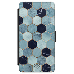 Casimoda Samsung Galaxy S21 flipcase - Marmer blauw kubussen