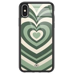 Casimoda iPhone X/XS glazen hardcase - Hart swirl groen