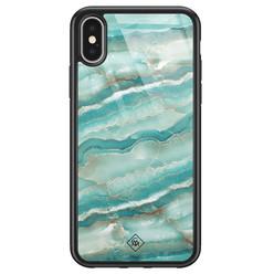Casimoda iPhone X/XS glazen hardcase - Marmer azuurblauw
