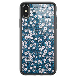 Casimoda iPhone X/XS glazen hardcase - Bloemen blauw
