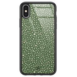 Casimoda iPhone X/XS glazen hardcase - Green dots
