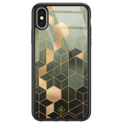 Casimoda iPhone X/XS glazen hardcase - Kubus groen