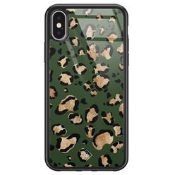 Casimoda iPhone X/XS glazen hardcase - Luipaard groen