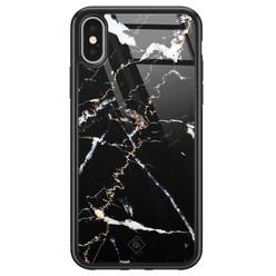 Casimoda iPhone X/XS glazen hardcase - Marmer zwart