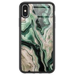 Casimoda iPhone X/XS glazen hardcase - Green waves