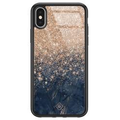 Casimoda iPhone X/XS glazen hardcase - Marmer blauw rosegoud