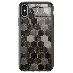 Casimoda iPhone X/XS glazen hardcase - Hexagons zwart