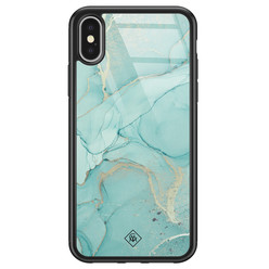 Casimoda iPhone X/XS glazen hardcase - Touch of mint