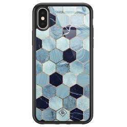 Casimoda iPhone X/XS glazen hardcase - Blue cubes