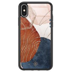 Casimoda iPhone X/XS glazen hardcase - Abstract terracotta