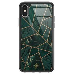 Casimoda iPhone X/XS glazen hardcase - Abstract groen