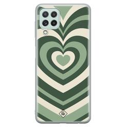 Casimoda Samsung Galaxy A22 4G siliconen hoesje - Hart swirl groen