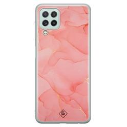 Casimoda Samsung Galaxy A22 4G siliconen hoesje - Marmer roze