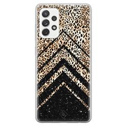 Casimoda Samsung Galaxy A52s siliconen hoesje - Chevron luipaard