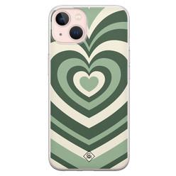 Casimoda iPhone 13 siliconen hoesje - Hart swirl groen