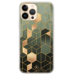 Casimoda iPhone 13 Pro Max siliconen hoesje - Kubus groen