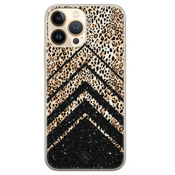 Casimoda iPhone 13 Pro Max siliconen hoesje - Chevron luipaard